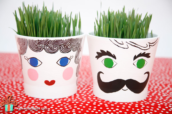 Grass head pots - a fun spring gardening craft for kids. Plant the seeds, water everyday and wait for the grass to grow. | at Non Toy Gifts