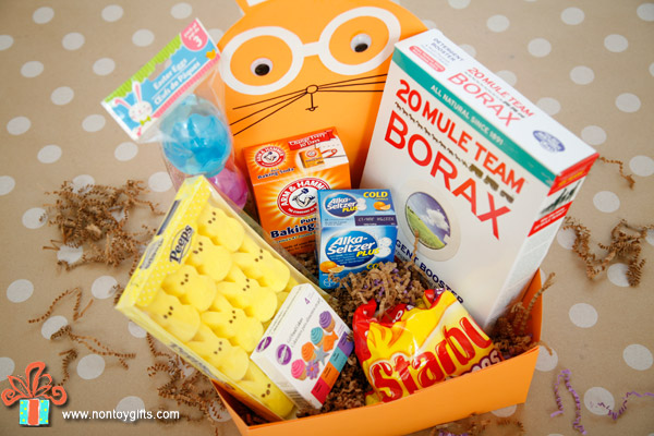 DIY Easter science kit for kids - a great non-candy Easter basket idea. It includes instruction on how to make the basket and what materials to include for 6 science experiments. | at Non Toy Gifts