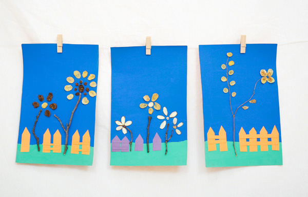 Twig and cereal craft for kids that brings together nature elements and food art. It's a fun spring craft or an Earth Day activity.  at Non Toy Gifts