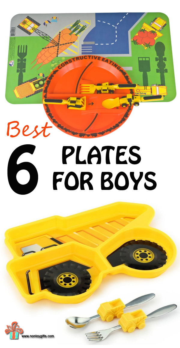 Transportation, construction and fire engine plates for boys. 6 plates that will get little ones enthusiastic about dinner time. Great gifts for picky eaters. Dump truck, firetruck and road plates. Personalized plates for kids.| at Non Toy Gifts