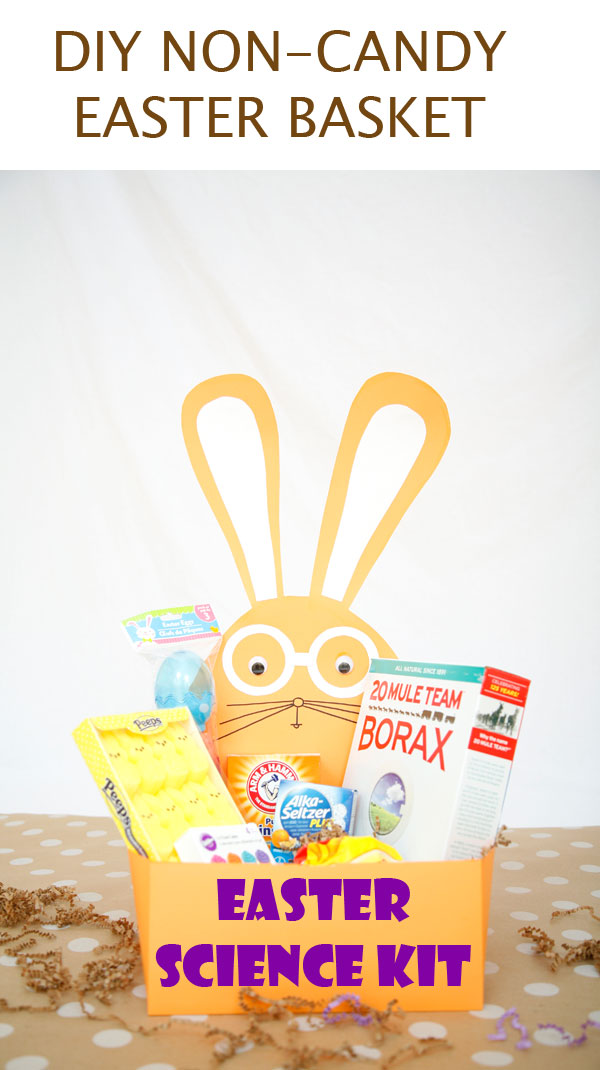 DIY Easter science kit for kids - a great non-candy Easter basket idea. It includes instruction on how to make the basket and what materials to include for 6 science experiments.   at Non Toy Gifts