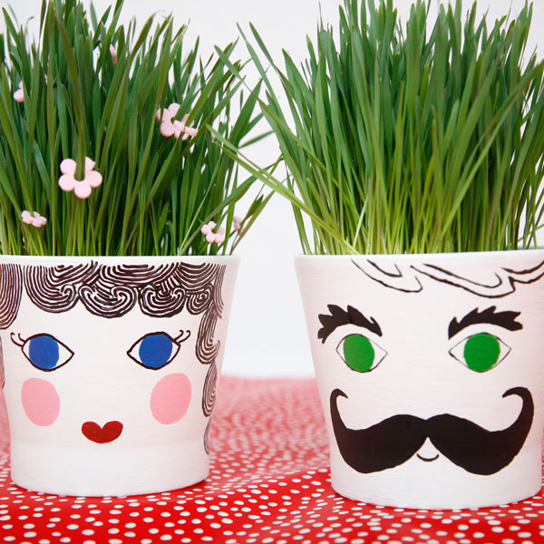 Grass Head Pots to Make with Kids