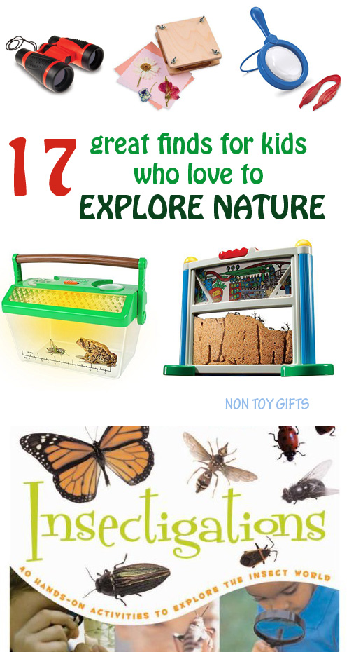 A great list of 17 finds that will inspire kids in their nature explorations. Kids can use them on nature walks or in their own backyard to observe animals, insects and plants. Explore nature gifts for kids. | at Non Toy Gifts