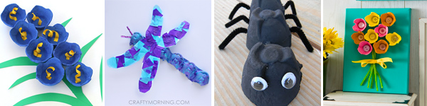 16 egg carton spring crafts for kids: flowers, dragonfly and ant. | at Non Toy Gifts
