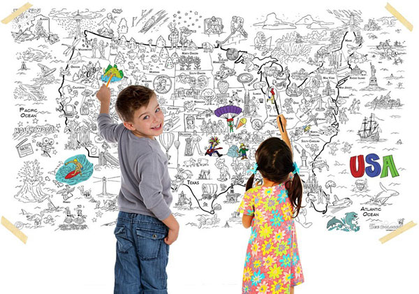 3 coloring maps of America. Fun and educational activity for kids, it introduces art and geography and encourages collaboration. Great classroom or homeschool activity. Better than a color page- at Non Toy Gifts