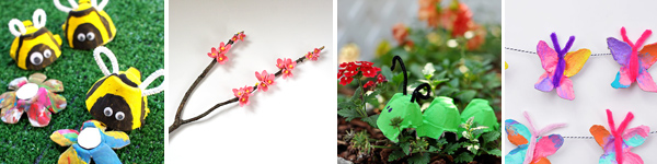 16 egg carton spring crafts for kids: butterfly,caterpillar, bees and cherry blossom branch . | at Non Toy Gifts