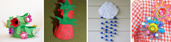 16 egg carton spring crafts for kids: floweer crown, strawberries, rain cloud mobile and flower pins . | at Non Toy Gifts