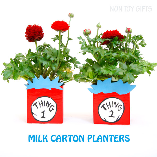 Thing 1 and thing 2 recycled planters from milk carton. A book inspired craft for kids to make on Dr Seuss or Earth Day. | at Non Toy Gifts