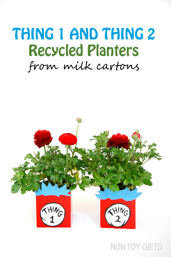 Thing 1 and thing 2 recycled planters from milk carton. A book inspired craft for kids to make this spring or summer. It is also a great Earth Day activity. | at Non Toy Gifts