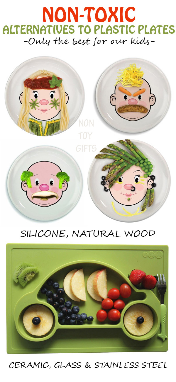 Alternatives to plastic plates for kids. Non-toxic, fun and colorful plates for a healthy dinner. Ceramic, natural wood, silicone, glass and stainless steel are great eco-friendly materials. | at Non Toy Gifts