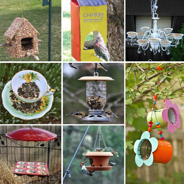 15 bird feeders from recyclables