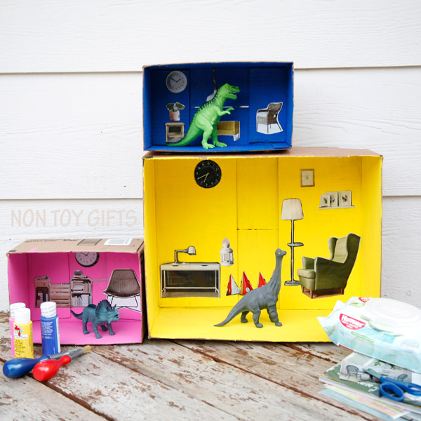 An easy DIY dollhouse that you can make from cardboard boxes. An recycled project to try with kids. |at Non Toy Gifts