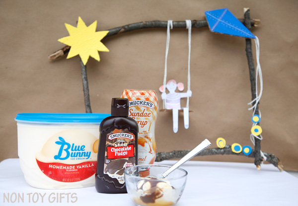 A nature craft and a big bowl of ice cream is the recipe for a perfect summer family day.