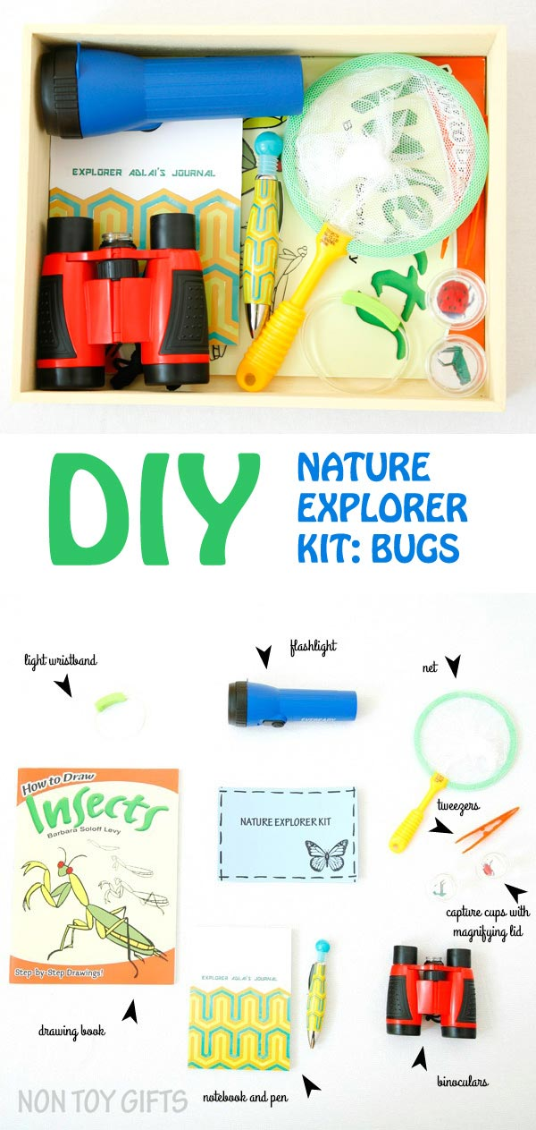 Gift idea for young kids: DIY nature explorer kit. This kit is targeted towards the study of bugs but it can be easily made for butterflies, birds or plants. Use it for nature walks or to study bugs in your own backyard. | at Non Toy Gifts