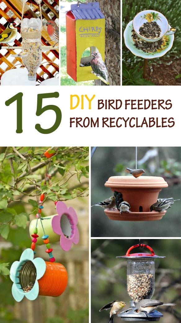 15 amazing DIY bird feeders from recyclables. Cheap bird feeders to make with kids this spring or summer. A fun and easy nature craft for preschool or older kids. | at Non-Toy Gifts