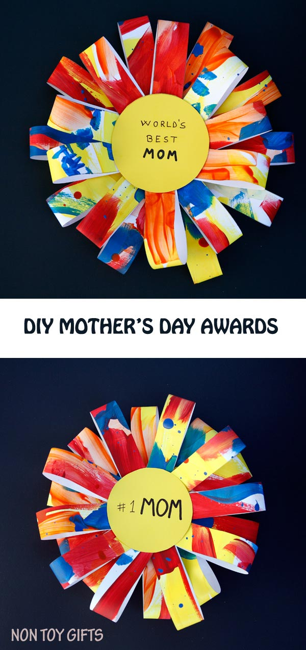 DIY Mother's Day Awards - an easy Mother's Day craft. It can be made as a gift for grandma. Turn the kids' artwork into a handmade gift. | at Non Toy Gifts
