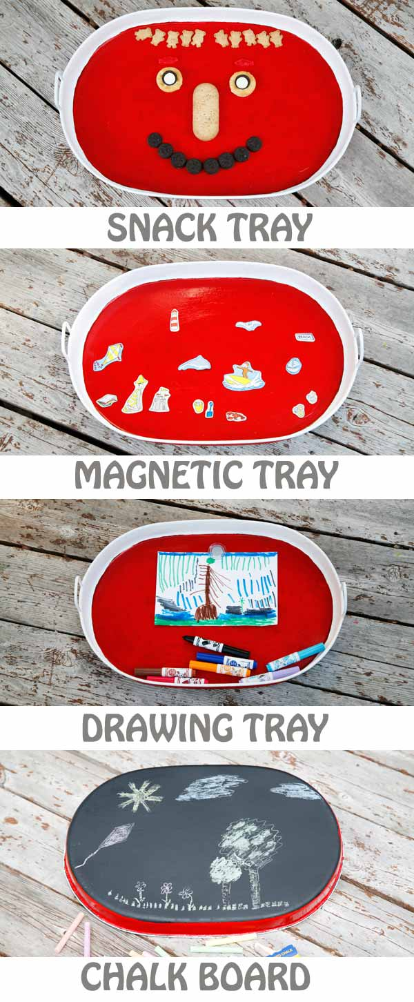 If you're planning a road trip with kids, make sure to make this DIY busy tray. Use an old backing sheet and paint it in bright colors. Turn the back into a chalk board. Use the busy tray as a magnet tray for magnetic games, letter and numbers, drawing tray as well as snack tray. | at Non Toy Gifts
