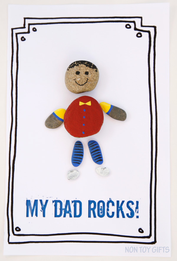 Make a DAD ROCKS card with kids using rounded stones. Dad will love his personalized gift! Easy and fun Father's Day craft. Free printable available. | at Non Toy Gifts