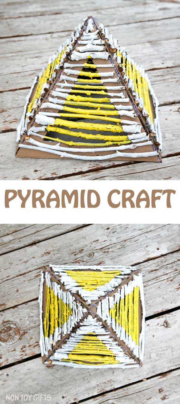 Building pyramids with nature elements (sticks and twigs) is a great craft for preschoolers. They learn architecture, Egypt's history and express their creativity through paint. Place a flameless candle underneath the pyramid and it makes a great lantern. Stick pyramid - nature craft for spring or summer | at Non Toy Gifts