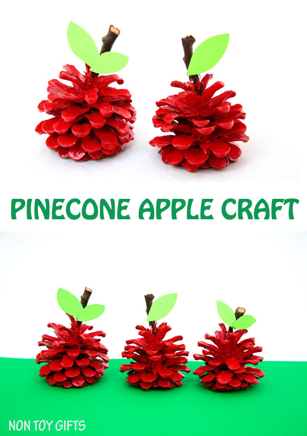 An easy pinecone apple craft for kids. Use can use the pinecone apples as back to school gifts for teachers. It's a fun nature craft to try this fall. | at Non Toy Gifts