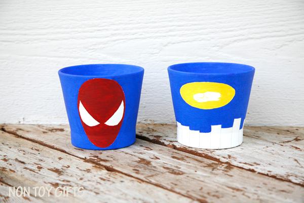 Superhero grass pots - fun craft for kids