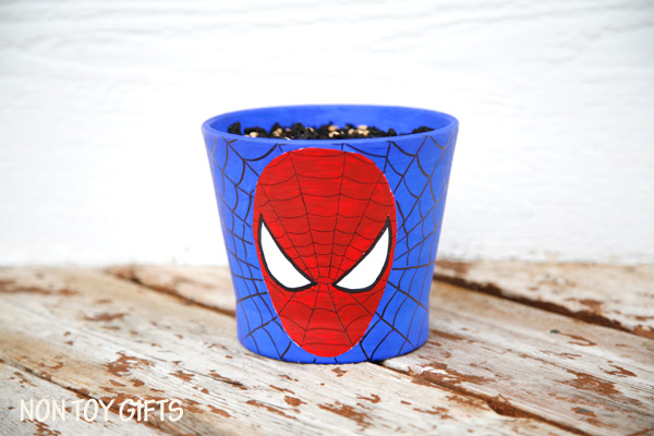 Spider Man grass pots - fun craft for kids