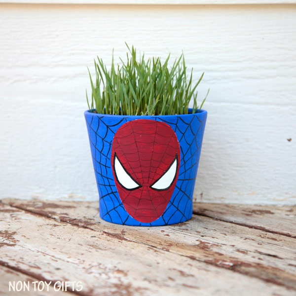 Superhero grass pots - fun craft for kids