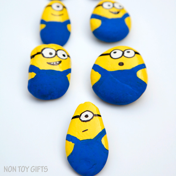 These painted Minion rocks or stones make a super cute and simple craft for all Minion fans out there: kids and parents. | at Non Toy Gifts
