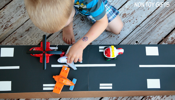 DIY cardboard airport toy to make for kids. | at Non Toy GIfts