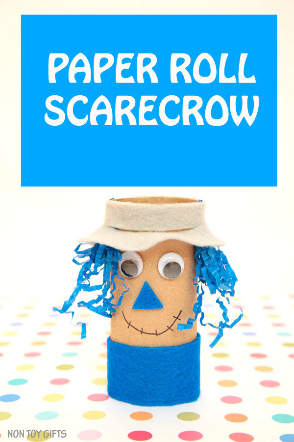 Paper roll scarecrow craft for kids. An easy fall craft that uses recyclable items. | at Non Toy Gifts