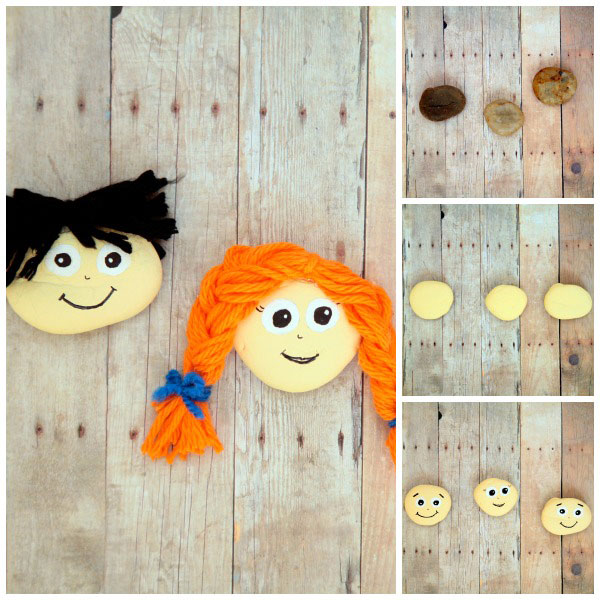 PAINTED ROCK PEOPLE. Kids can use these happy face rocks for creative play. Fun activity for children of all ages. | at Non Toy Gifts