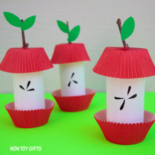 Paper Roll Apple Core Craft for Kids