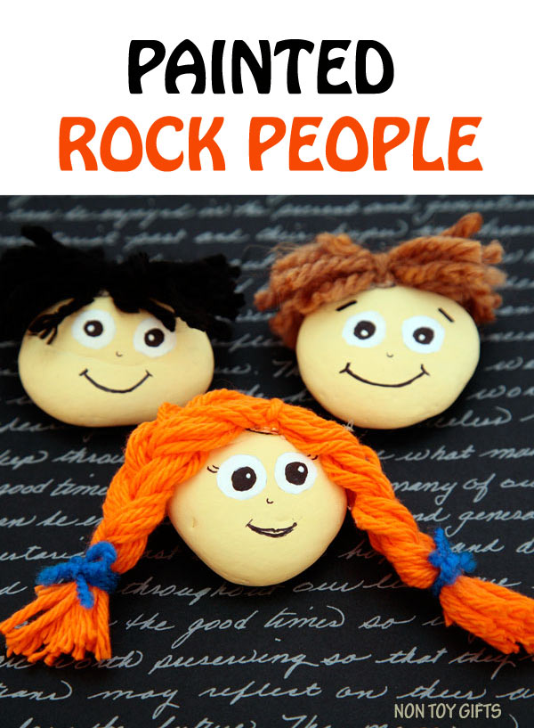 PAINTED ROCK PEOPLE. Kids can use these happy face stones for creative play. Fun activity for children of all ages. | at Non Toy Gifts