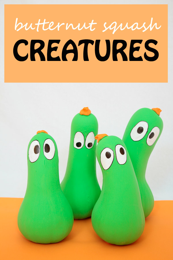 A fun and easy craft for kids to try this fall. Paint a few butternut squashes and turn them into green creatures. | at Non Toy Gifts