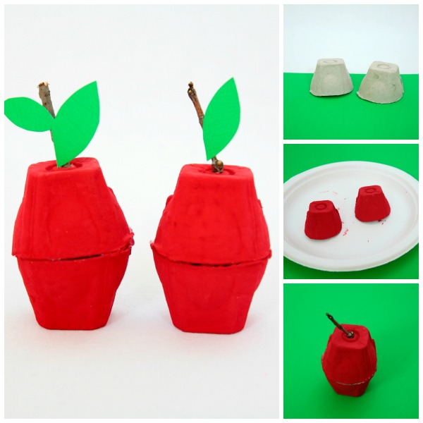 Egg carton apple craft. Simple fall craft to try with kids. A nice craft that uses recyclable materials | at Non Toy Gifts