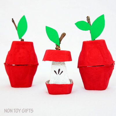 Egg Carton Apple Craft for Kids