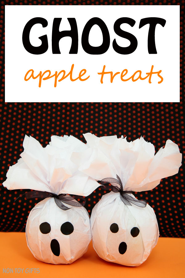 Healthy ghost treats to make for kids for Halloween . Use apples or oranges. Great non-candy Halloween treats. | at Non-Toy Gifts