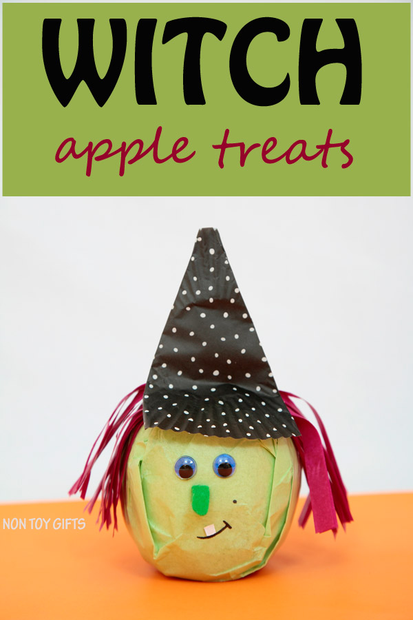 Healthy witch Halloween treat to make for the school party or as snack. Use apples or oranges. | at Non-Toy Gifts