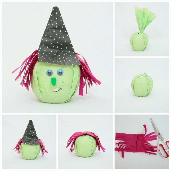 Healthy witch treats to make for kids for Halloween - apple or orange treats