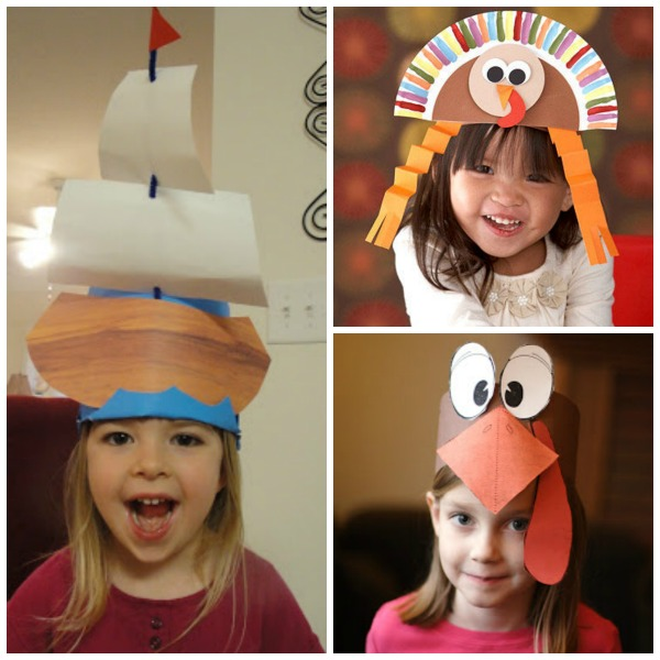 Thanksgiving hats for kids to make: turkey hats and Mayflower ship hat
