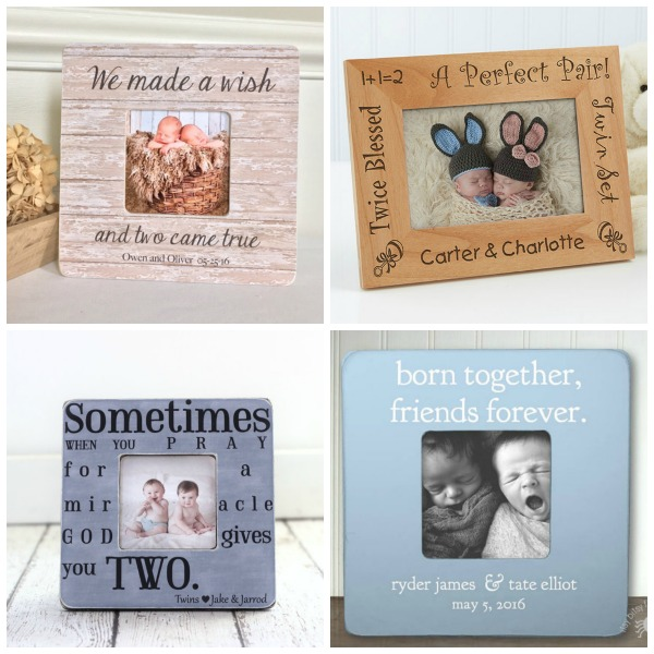 Personalized photo frames for twins' first Christmas