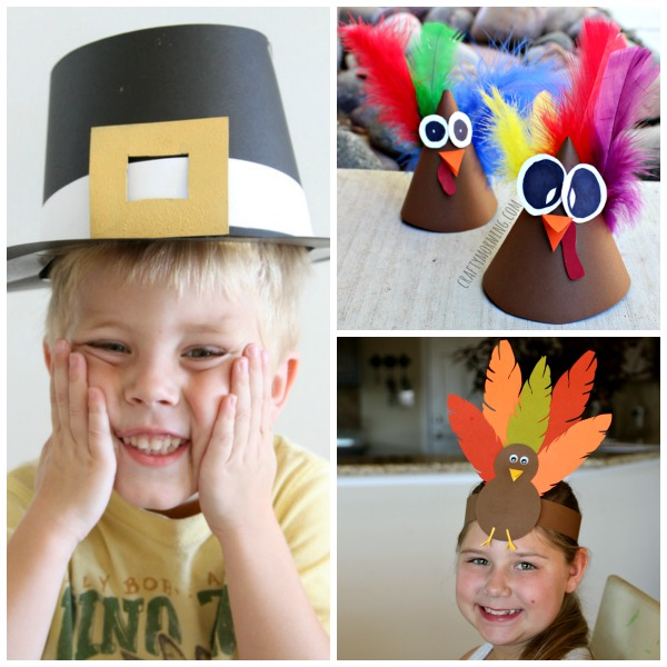 Thanksgiving hats for kids to make: turkey hats and pilgrim hat