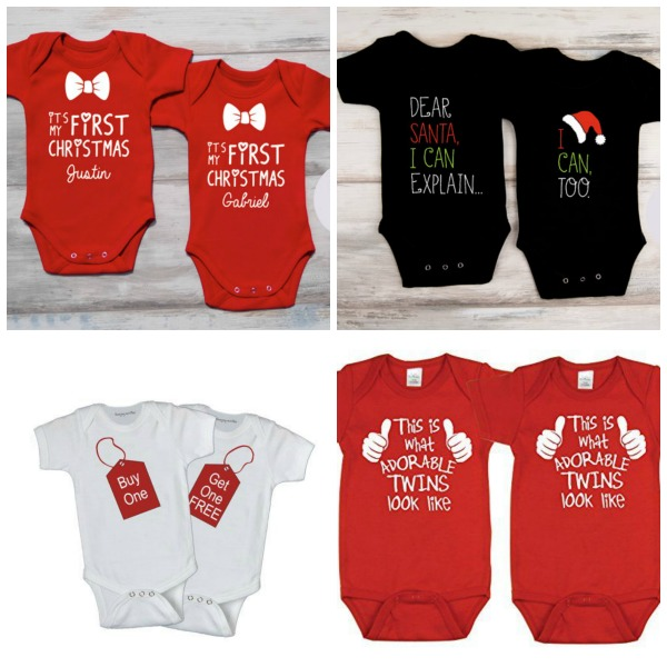 Bodysuits for twins' first Christmas