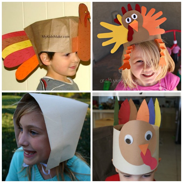 Thanksgiving hats for kids to make: turkey hats and pilgrim bonnet