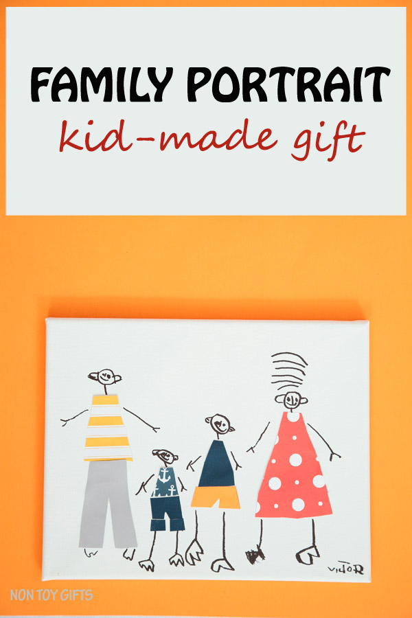 Family portrait : kid-made gift. Kids as young as preschoolers can make these fun and special family portrait gifts for grandparents to open on Christmas day. | at Non Toy Gifts