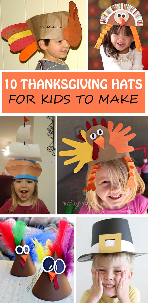 Thanksgiving hats for kids: turkey, Mayflower ship and pilgrim hats. Great for preschoolers, kindergartners and older kids. #Thanksgiving #ThanksgivingHat