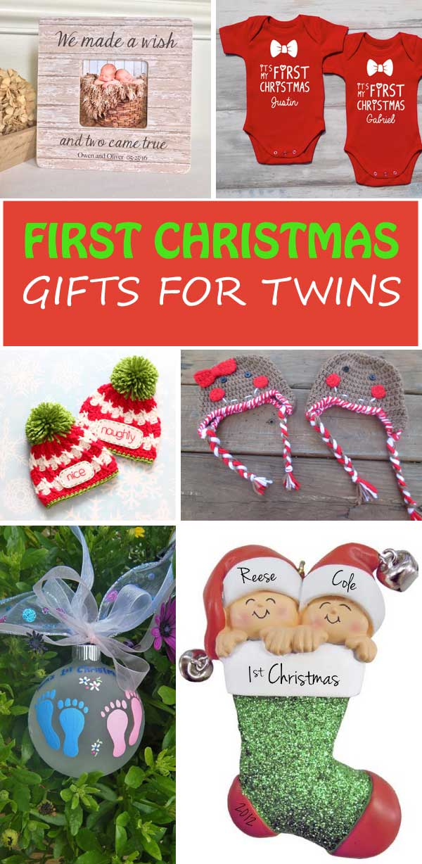 Twins' First Christmas Gifts. A great gift guide to use for first Christmas, first birthday or baby shower. | at Non-Toy Gifts