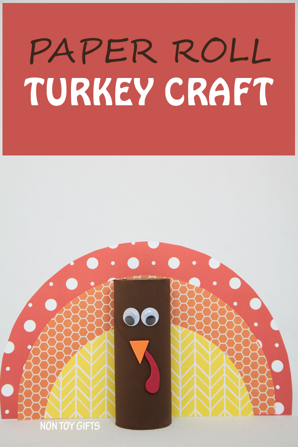 A simple paper roll turkey craft for kids to try this Thanksgiving. This craft is for kids as young as toddlers and preschoolers. | at Non Toy Gifts