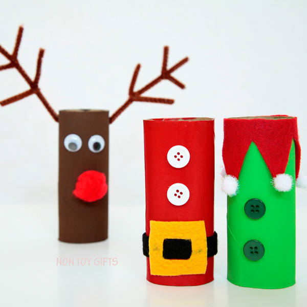 Paper roll Christmas craft for kids: Santa, elf and reindeer. | at Non Toy Gifts