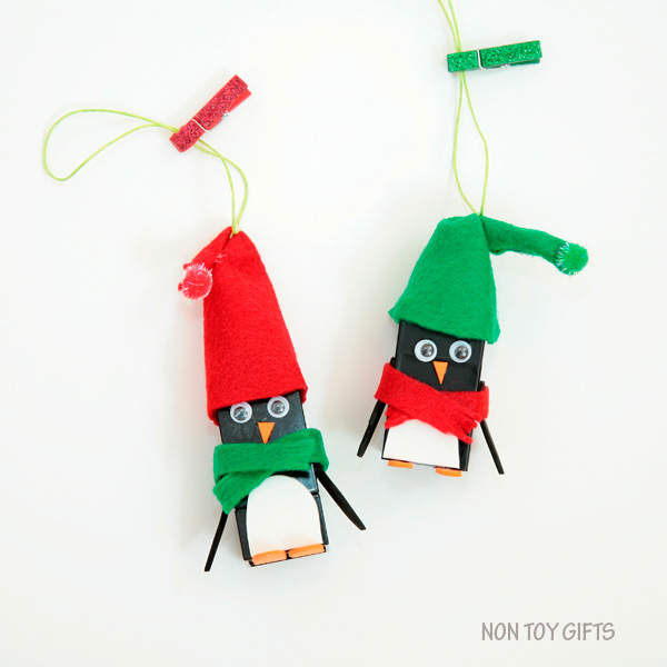 LEGO penguin ornaments. Kid-made ornaments. Book inspired. Easy penguin craft to try this winter with kids. | at Non-Toy Gifts